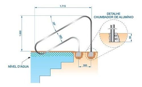 Corrimão Ilha Bela Em Aço Inox Com Chumbador Em Alumínio