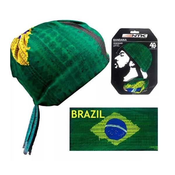 Bandana Proteção Solar Touca Esportes Camping Pesca Moto Brazil em Poliéster - Nautika