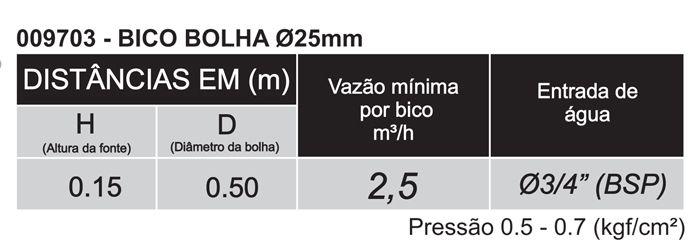"""Bico Bolha 25mm Entrada Rosca 3/4"""" BSP - Sodramar"""