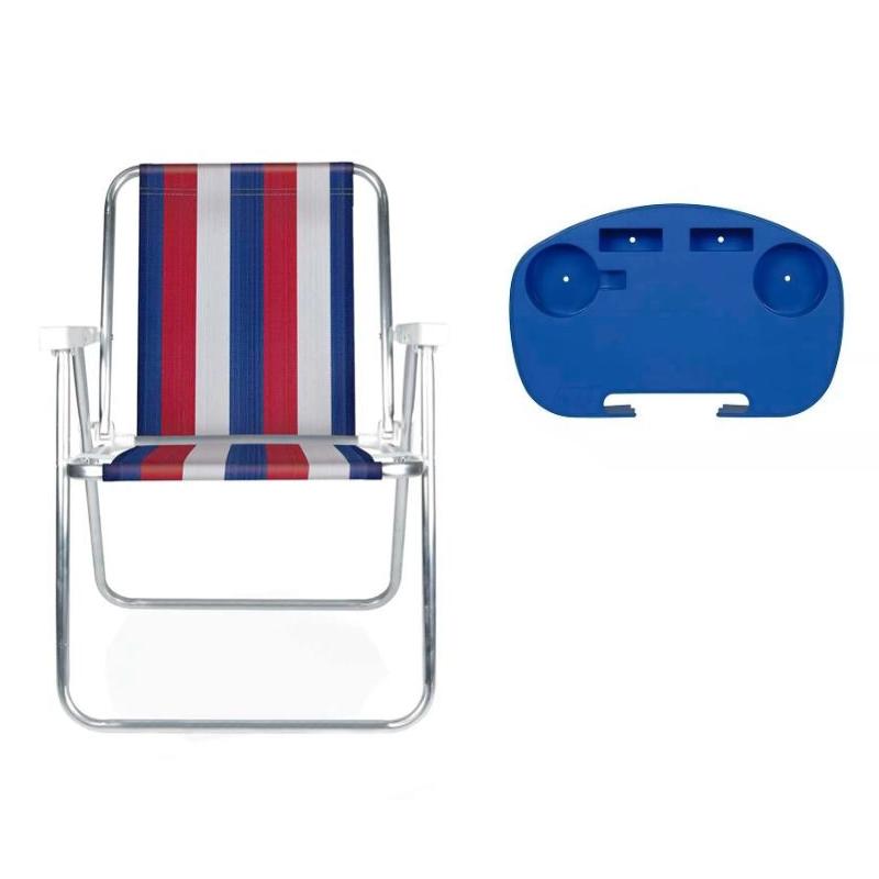 Cadeira Alta em Alumínio + Mesinha + Guarda Sol - Mor