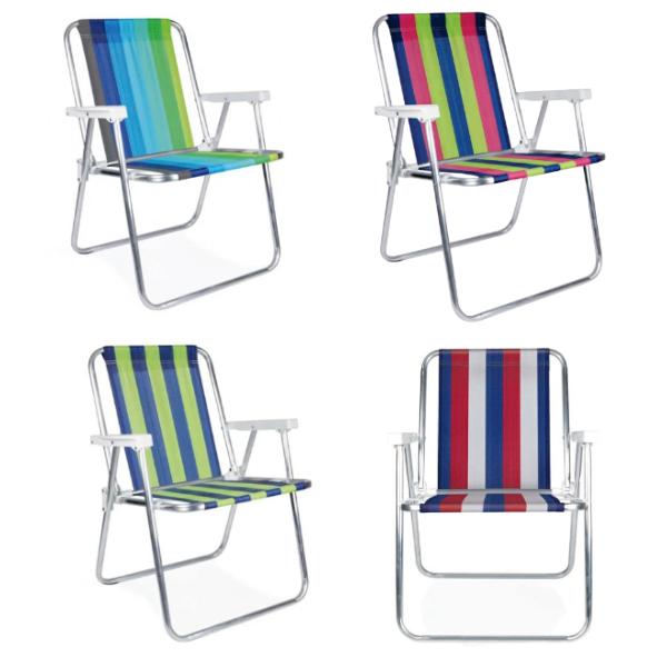 Cadeira de Praia Alta em Alumínio Sortido  - MOR