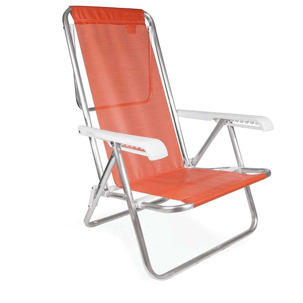 Cadeira de Praia Piscina Reclinável 8 Posições Alumínio  Coral - Mor