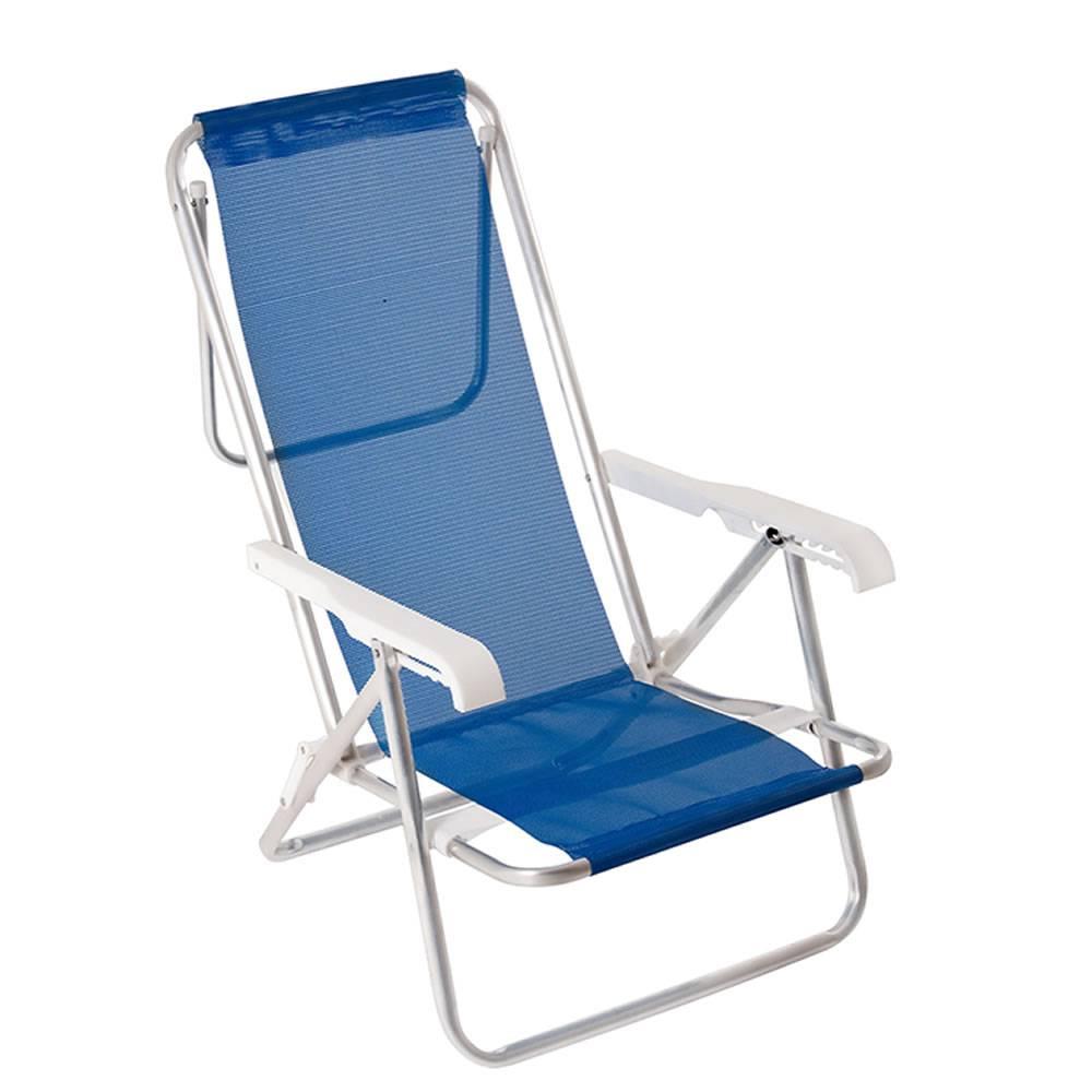 Cadeira de Praia Reclinável Alumínio 8 Posições Azul