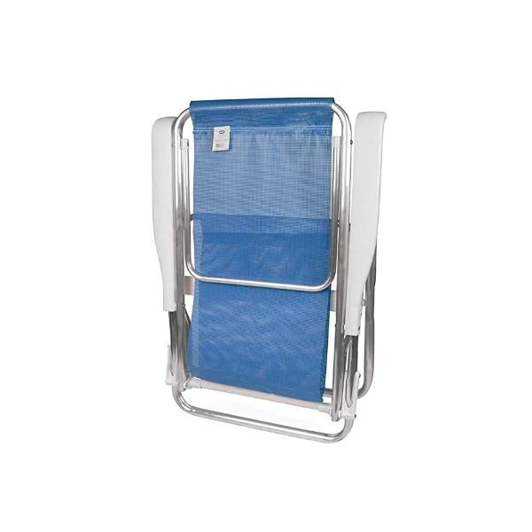 Cadeira Praia Piscina Reclinável 8 Posições Alumínio Azul- MOR