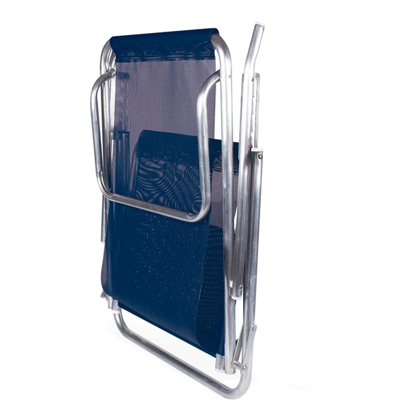 Cadeira Reclinável 5 Posições Alumínio Plus Azul + Mesinha Portátil + Guarda Sol Verde e Branco Mor