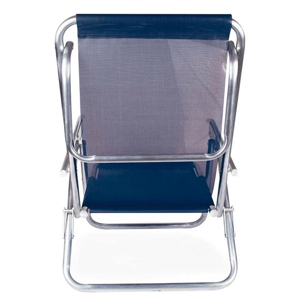 Cadeira Reclinável 5 Posições Alumínio Plus Azul + Mesinha Portátil Mor