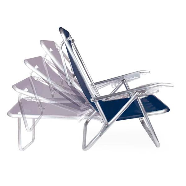Cadeira Reclinável 5 Posições Alumínio Plus Azul - MOR