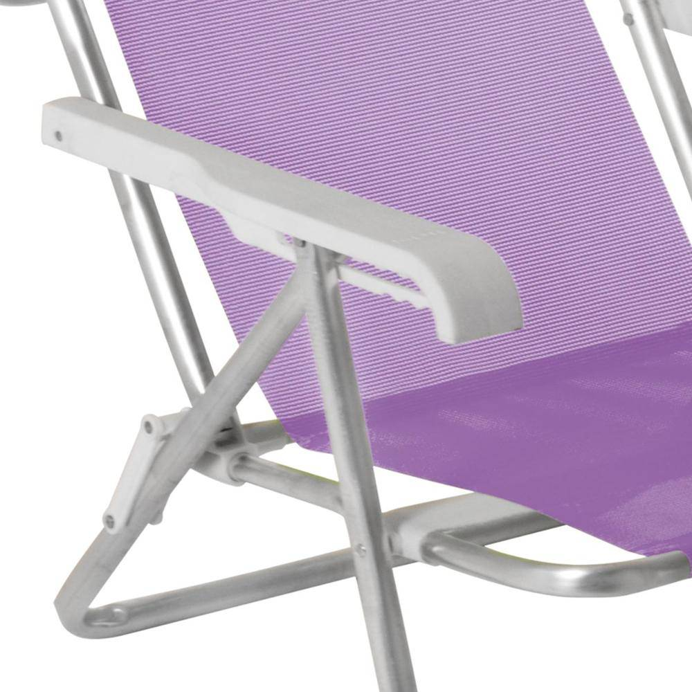 Cadeira Reclinável 8 Posições Alumínio Lilás- Mor