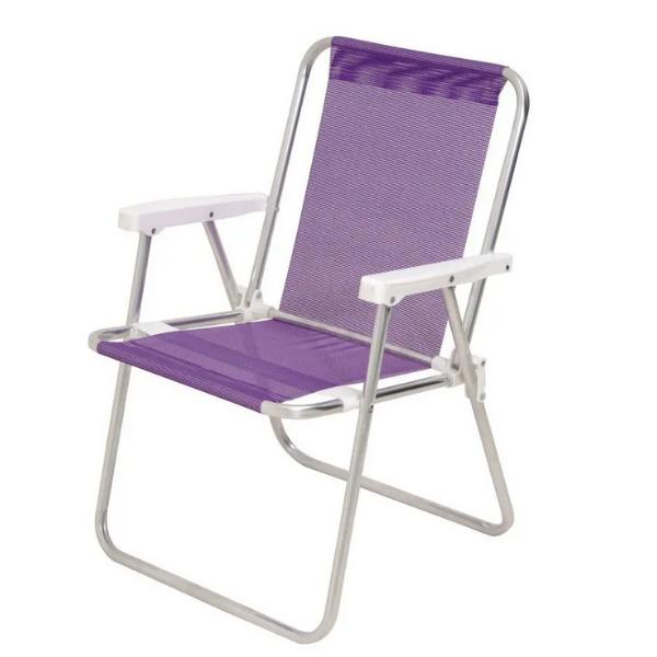 Cadeiras De Praia Alta Em Alumínio Lilás - Mor 2291