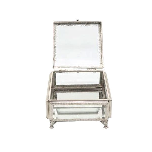 Caixa, Estojo,Porta Jóias e Bijuterias  em vidro Decorativo 10 x 22 x 22 - M1093