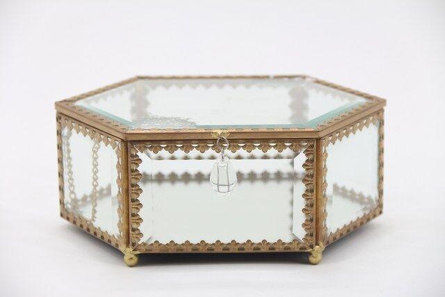 Caixa, Estojo,Porta Jóias e Bijuterias  em vidro Decorativo 9 x 18 x 13 - M1125