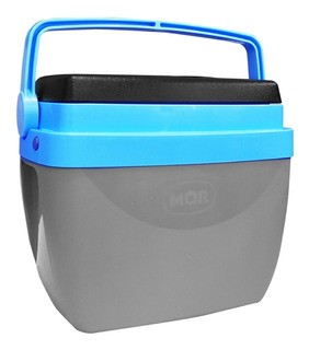 Caixa Térmica Cooler 18 Litros Com Alça e Porta Copos Cinza com Azul - Mor
