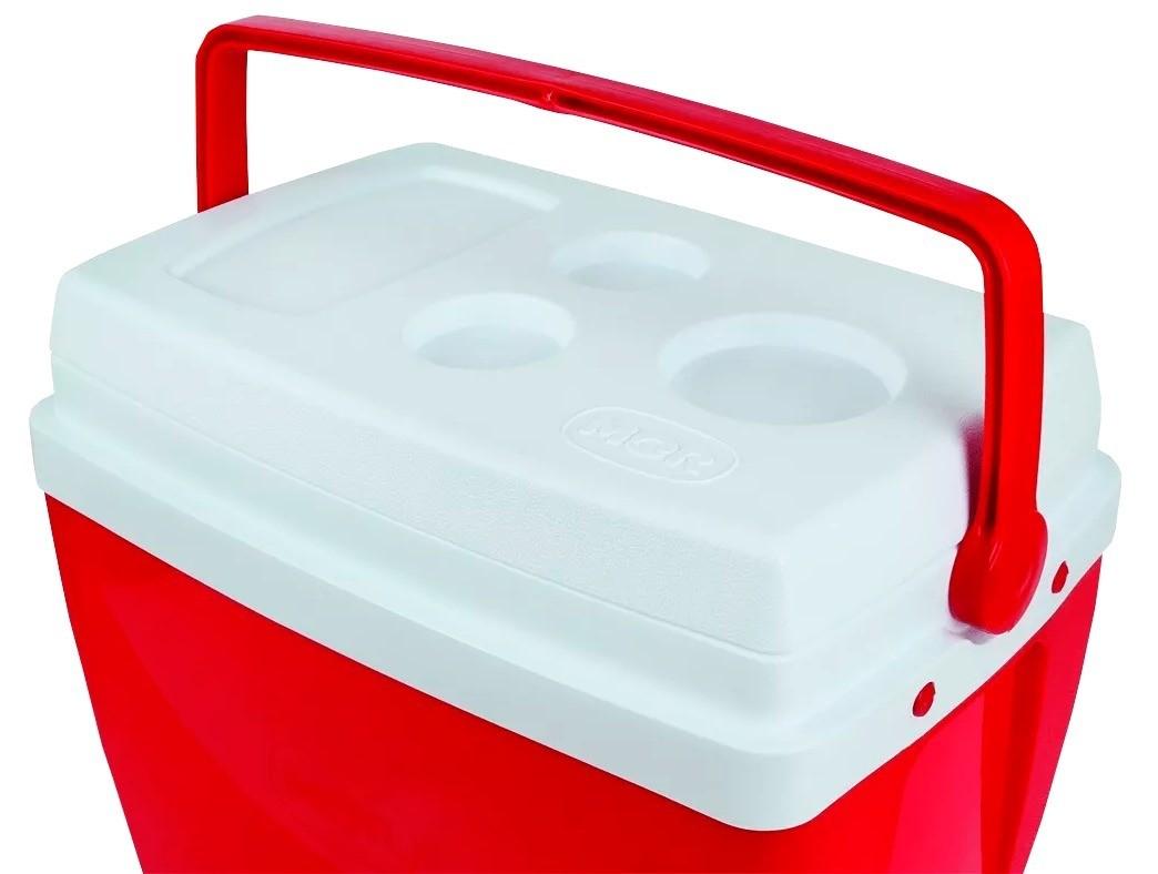 Caixa Térmica Cooler 26 Litros Com Alça e Porta Copos Vermelha - Mor