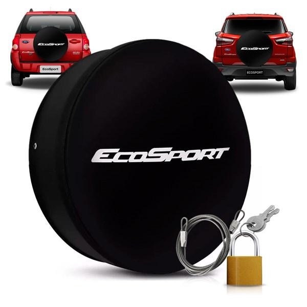 Capa para Estepe Ecosport Com Cadeado e Cabo de Aço Preta