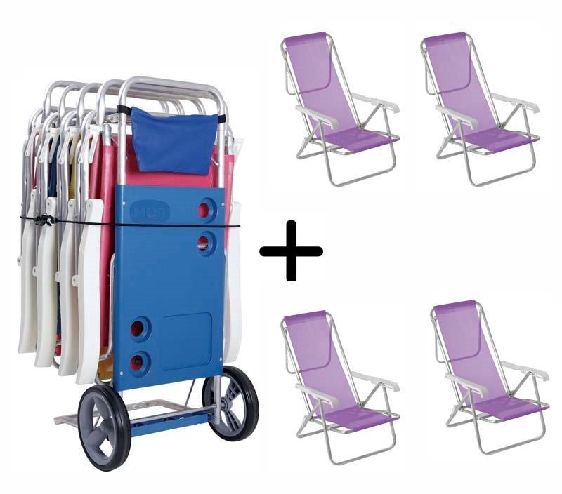 Carrinho de Praia + 04 Cadeiras 8 Posições Lilás -  Mor