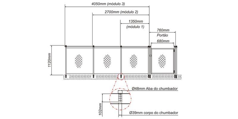 Cerca de Proteção Módulo 135 1,35 comp x 1,00 alt  - Sodramar