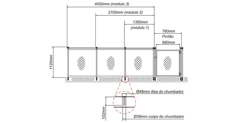 Cerca de Proteção Módulo 270 2,70 comp x 1,00 alt - Sodramar