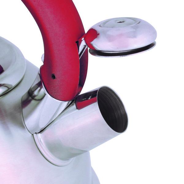 Chaleira Aço Inox 3 Litros Fundo Triplo Diletta Vermelha - Mor
