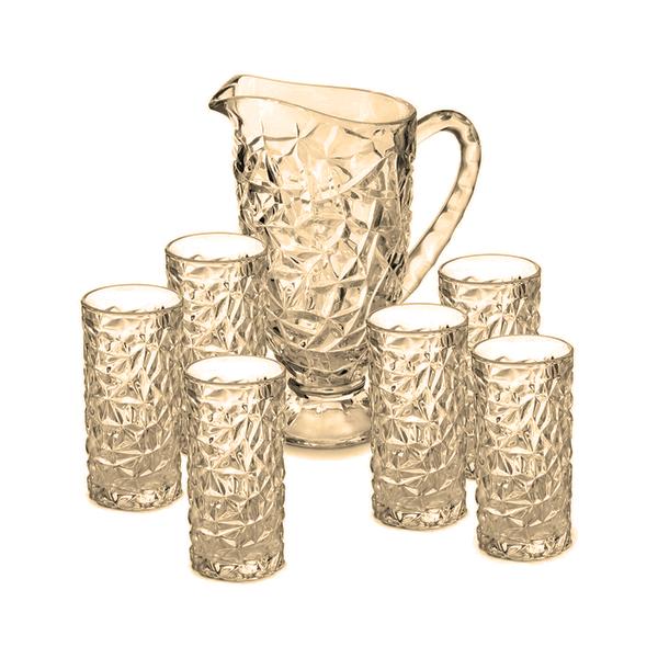 Conjunto 7 Peças Jarra de 1 Litro +  Copos em vidro Dourado Resistente - G-house