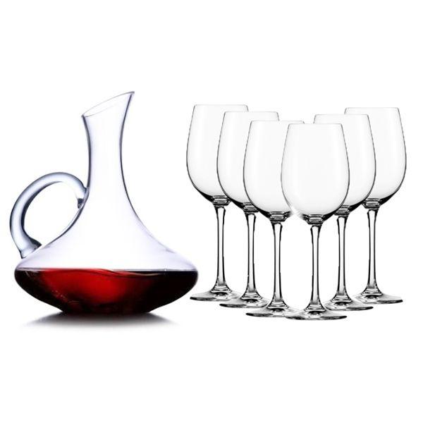 Conjunto de Decanter com 6 taças de vinho Tinto