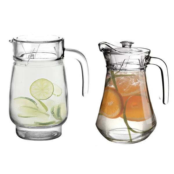 Conjunto de Jarra Água Sucos Refrescos Refrigerantes em Vidro Com Tampa 1300ML
