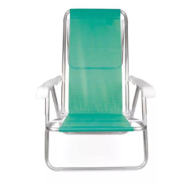 2 Cadeira reclinável  8 Posições Alumínio Anis  + 2 Mesinha - Mor