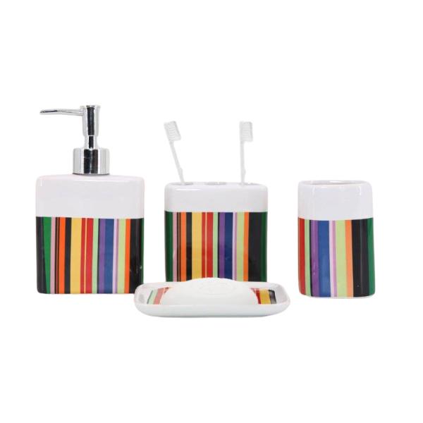 Kit Banheiro com Acessórios p/ Lavabo c/ Porta Sabonete Líquido 4 Peça - L1221