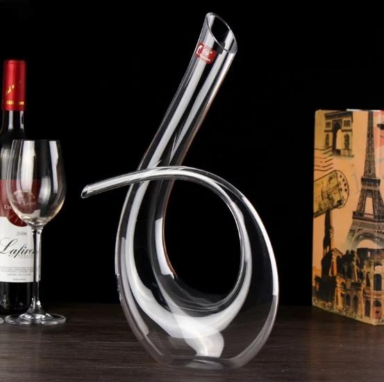 Decanter de vinho Aerador em Vidro lapidado 1,5L Design Super Moderno