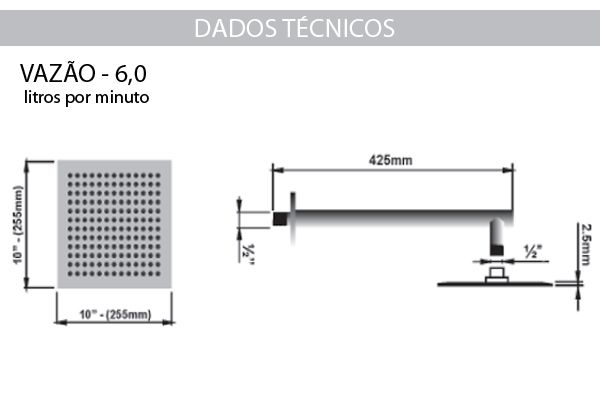 Ducha Cascata em Aço Inox 25x25 - Sodramar