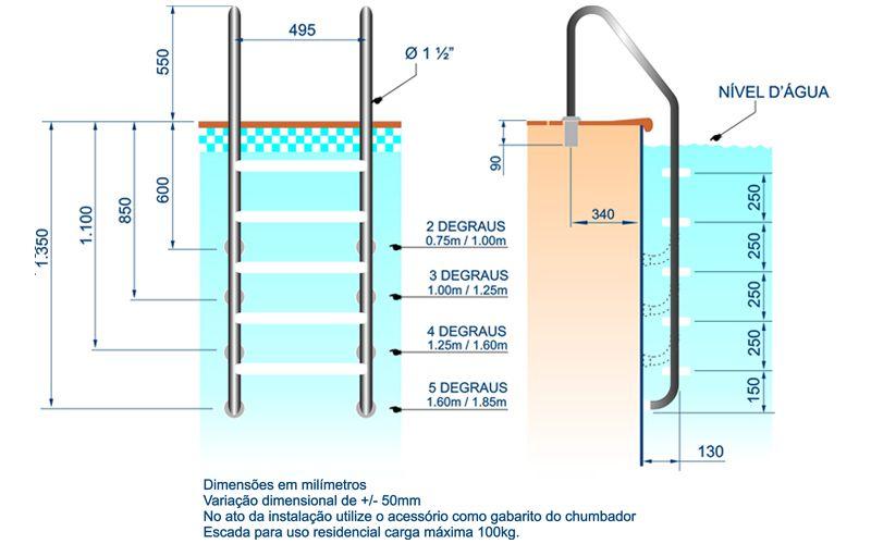 Escada Tradicional 1½ Com 5 Degraus Anatômicos Em Inox - Sodramar