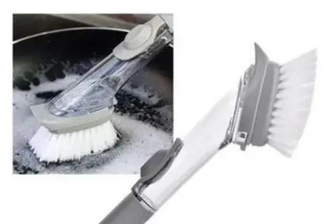 Escova Plástica Multiuso para Limpeza de Panela com Reservatório para Sabão Cabo Longo