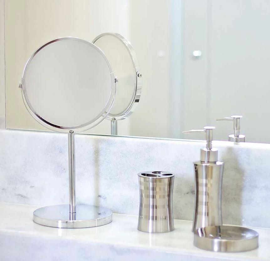 Espelho de Aumento Dupla Face Pedestal - Mor