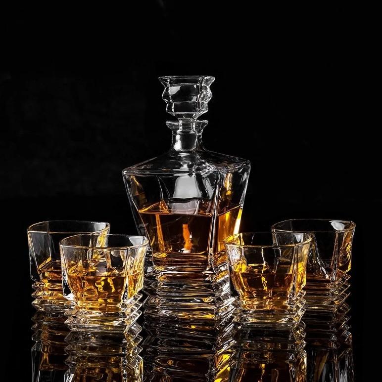 Garrafa Decanter Vidro Whisky Licor 750ml +6 Copos Superluxo