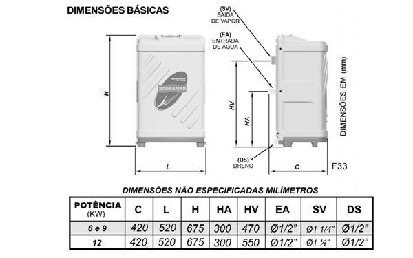 Gerador de vapor Compact Line 9,0 kw universal - Sodramar