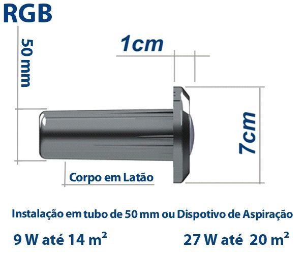 Hiper Led 27W Tubo de 50 mm Corpo Latão Frontal Inox - Sodramar