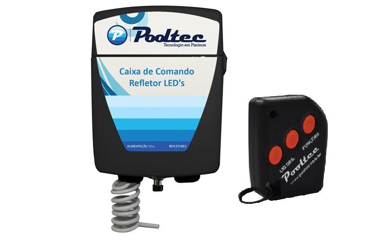 """Kit 2 Refletores RGB Tecno Led 65 ABS com Rosca 1/2"""" + Comando Standard - Pooltec"""