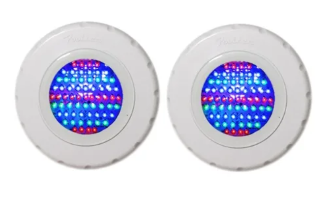 "Kit 2 Refletores RGB Tecno Led 65 ABS com Rosca 1/2"" - Pooltec"