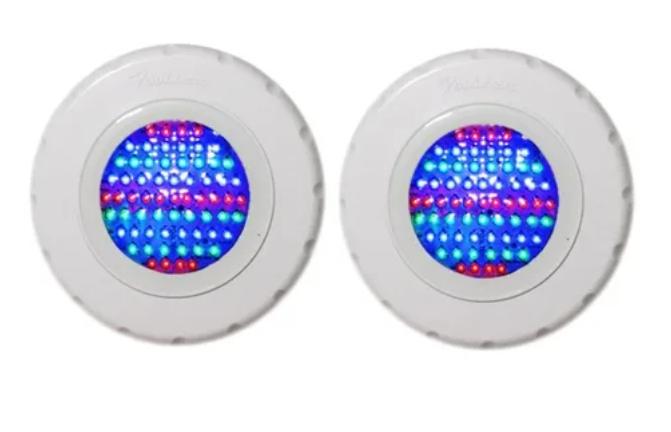 """Kit 2 Refletores Tecno Led Luz Azul 65 ABS com Rosca 1/2"""" + Comando Standard - Pooltec"""