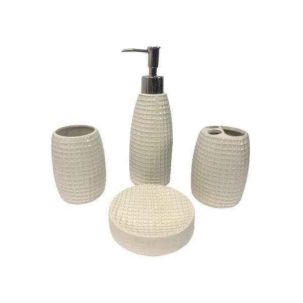 Kit Banheiro Acessórios Lavabo Branco 4 Peças - L1237