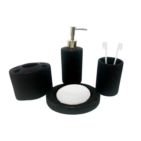 Kit Banheiro Acessórios Lavabo Preto 4 Peças - L1217P