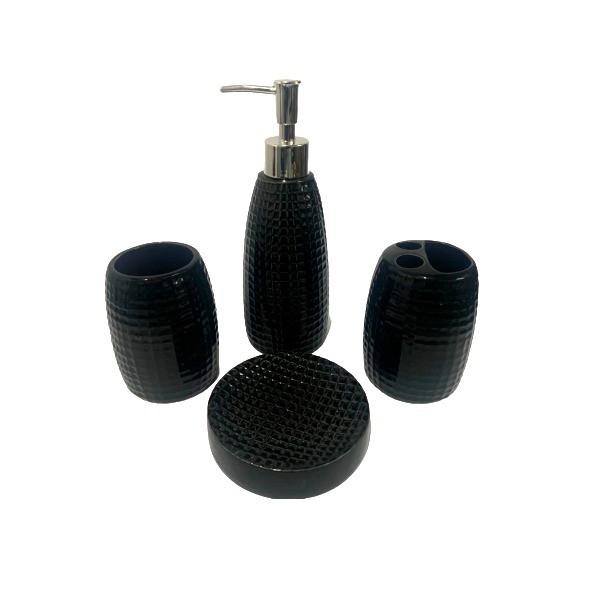 Kit Banheiro Acessórios Lavabo Preto 4 Peças - L1238