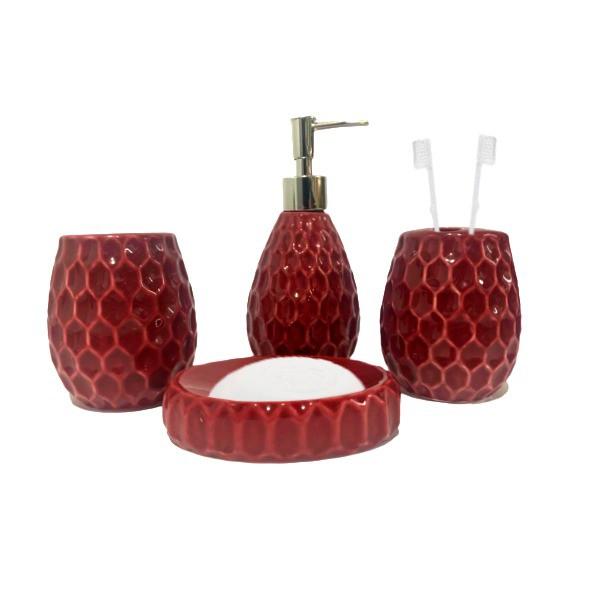 Kit Banheiro Acessórios Lavabo Vermelho 4 Peças - L1240