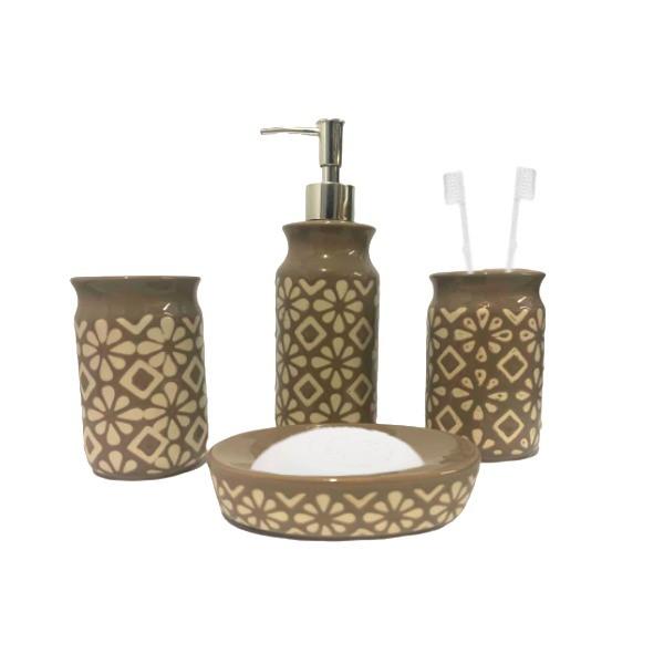 Kit Banheiro Acessórios Para Lavabo Marrom 4 Peças - L1239