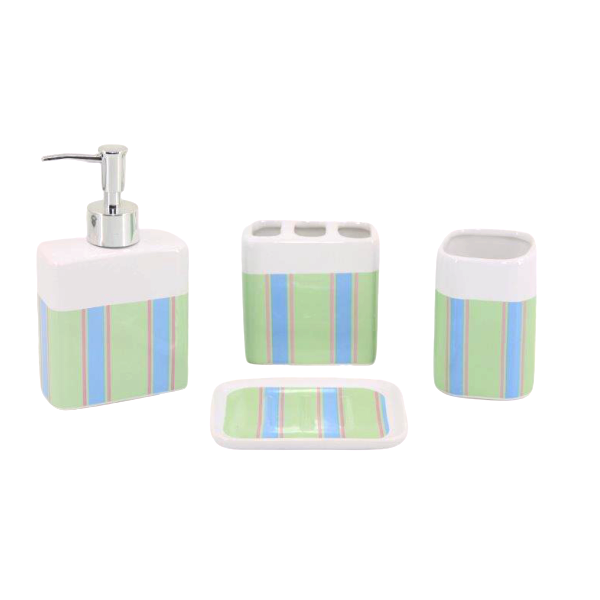 Kit Banheiro com Acessórios p/ Lavabo c/ Porta Sabonete Líquido 4 Peça - L1221B