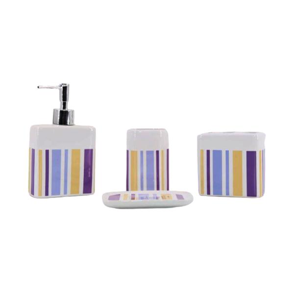 Kit Banheiro com Acessórios p/ Lavabo c/ Porta Sabonete Líquido 4 Peça - L1221C