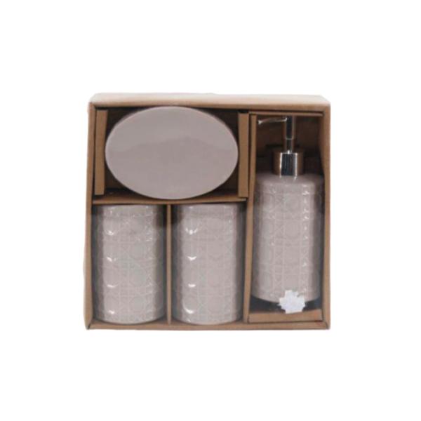 Kit Banheiro com Acessórios p/ Lavabo c/ Porta Sabonete Líquido 4 Peça - L1222B