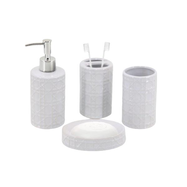 Kit Banheiro com Acessórios p/ Lavabo c/ Porta Sabonete Líquido 4 Peça - L1222W