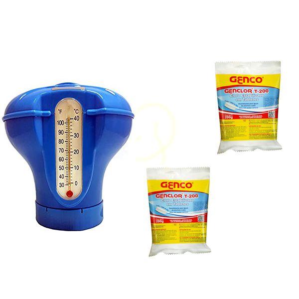 Kit Dosador Flutuante Termômetro c/ 2 pastilha Genco 200g