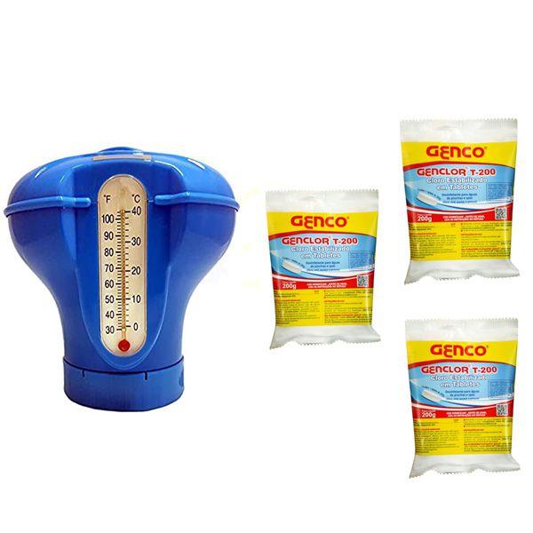 Kit Dosador Flutuante Termômetro c/ 3 pastilha Genco 200g