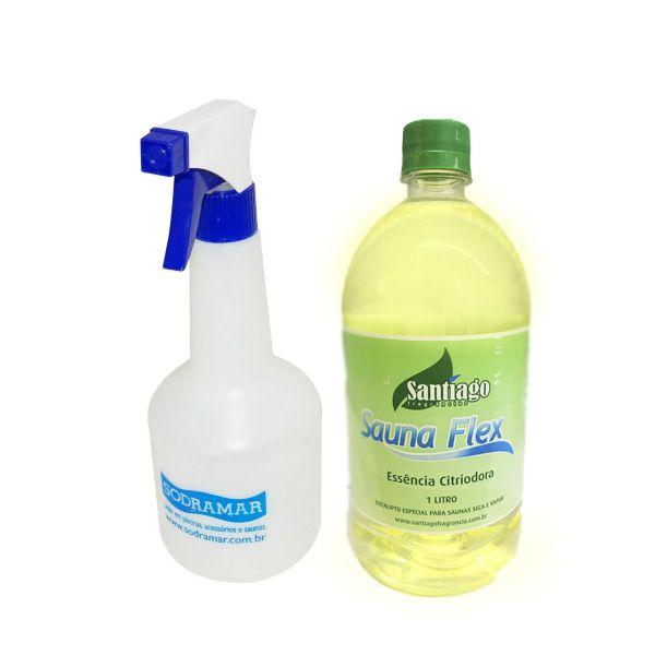 Kit Essência Eucalipto 1 litro e Pulverizador Para Sauna Seca Ou Vapor
